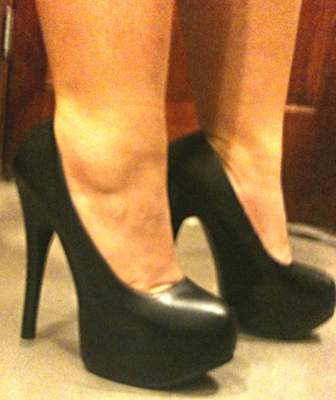 Everytime I go I try to wear more and more outrageous heels to impress the staff. They started it!